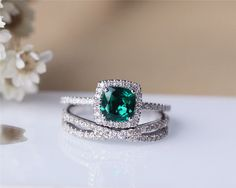 6mm Cushion Emerald Ring Set Solid 14K White Gold by JulianStudio