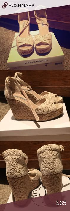 Size 8 Steve Madden Wedges Great condition! Worn on honeymoon in antigua, and for rehearsal dinner! Steve Madden Shoes Wedges