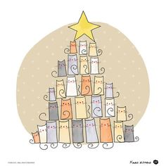 Christmas Tree Cats by+OipsStore
