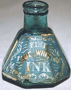 "A lovely object. Pontilled Umbrella Ink with 8 panels in light teal green and with original label for ""Fine Blue Writing Ink Price and Sons."" Owned by Ron Caspari."