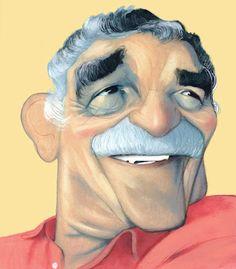 Gabriel Garcia Marquez turns eighty. Gabriel Garcia Marquez, Funny Celebrity Pics, Celebrity Pictures, Celebrity Caricatures, Funny Faces, Vintage Prints, Color Mixing, Illustration Art, Sketches