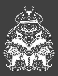 Original illustration and paper cut inspired by Swedish folk art and kurbits, 2011.