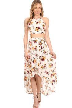Floral Wrap Skirt Set