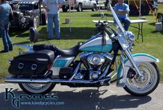 Teal and White Harley Davidson Motorcycle at the 2012 Daytona Bike Week.  Visit us at http://www.vtwinmotorcycleblog.com and http://www.kandgcycles.com/!