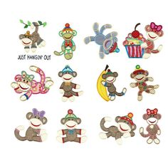 Sock Monkeys Applique Machine Embroidery Designs | Designs by JuJu