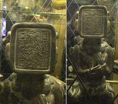 Oude Maya standbeeld is Code op het gezicht, Mogelijke Waring Of Things To Come