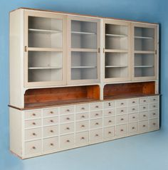 19th Century Antique Pine Glass Front Store Cabinet From Denmark