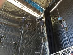 Pulleys and motors holding the lighting trusses.