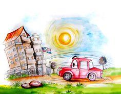 """Carro y la escuela ©Domingo Guzmán, 2012 Ilustración del libro """"100 poemas a la patria"""" Fundación Literaria Aníbal Montaño."""