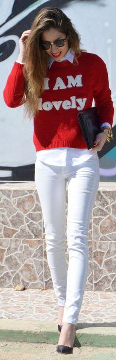 Zara Kids Red Knit 'I am Lovely' Print Sweater ~ love the whitewash underneath