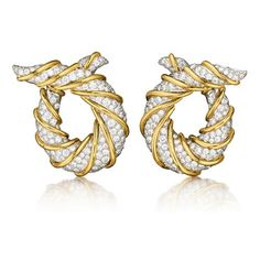 Verdura | Products | EARCLIPS | Twisted Horn Earclips  Diamond, platinum and 18k yellow gold.  $49,500