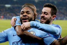 Raheem Sterling of Manchester City celebrates with Fernandinho of Manchester City, Bernardo Silva of Manchester City during the UEFA Champions League match between Schalke 04 v Manchester City at. Get premium, high resolution news photos at Getty Images Raheem Sterling, Premier League Champions, It's Going Down, Manchester City, F1, February, Germany, England, Football