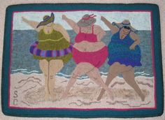 Wonderful Hooked Rug ~ Beach Ballet (0038) 2009  by Sue Cunningham