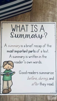 Summarizing Activities and Task Cards - Modern Design Summarizing Anchor Chart, Summary Anchor Chart, Summarizing Activities, Writing Anchor Charts, Writing Activities, 4th Grade Activities, English Writing Skills, Writing Lessons, Teaching Writing