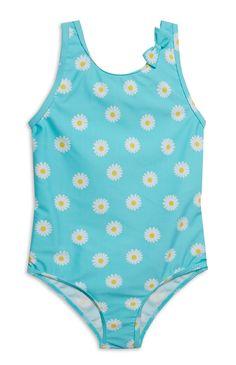 Primark - Younger Girl Blue Flower Print Swimsuit