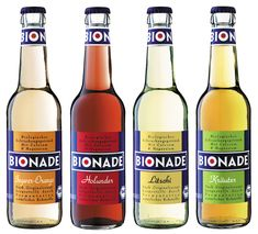 """Bionade - German entrepreneurial company providing bio-lemonade with different unusual tastes (e.g. Litchi, Elder), containing only 4% sugar, through a unique production process (fermentation). Primary Packaging is simple and clear (bottle) as well as modern, colourful and consistent throughout the product line (label). Suggestion: Fresh, Tasty, Healthy, Nothing to hide (transparency), not """"main stream"""", Positioning: Healthy, natural and exciting lifestyle product. Consistency with corp…"""