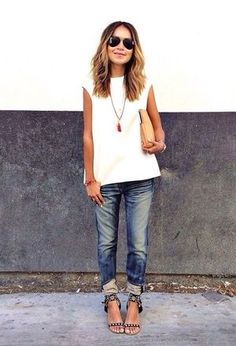 Look by @leysteff with #bershka #casual #jeans #forever21 #gladiators #tanks.