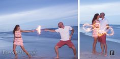 Sparkler Engagement Fun | Beach Photos at Dusk | © Favorite Photography