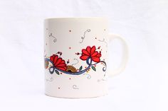 Huemu tazas  - pájaro y flores, $45 en http://ofeliafeliz.com.ar
