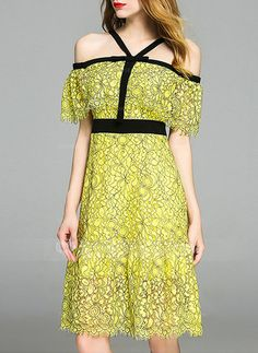 [US$ 60.99] Lace With Stitching Above Knee Dress (199140410)