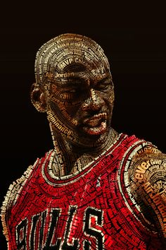 Michael Jordan is a former American basketball player who led the Chicago Bulls to six NBA championships and won the Most Valuable Player Award five times. Typography Portrait, Cool Typography, Typography Poster, Typography Wallpaper, Basketball Art, Love And Basketball, Basketball Players, Jordan Basketball, Basketball Design