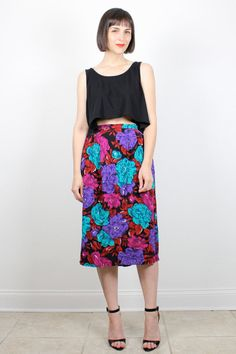 Vintage Midi Skirt 1980s Floral Print Skirt Knee Length Skirt Draped Black Pink Purple Teal High Waisted Skirt 80s Skirt M L Extra Large XL by ShopTwitchVintage #1980s #80s #floral #skirt #midi #etsy #vintage