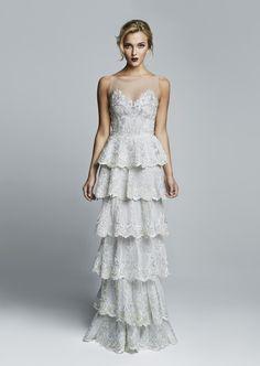 Fall/Winter 2014   Hamda Al Fahim Swan Dress, White Layered Panels with Silver Embellishments