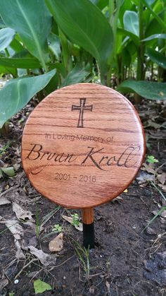 Tree dedication/memorial plaque.  Crafted from some Water Oak (Quercus nigra) that was knocked over by a tornado.  Stained with Minwax Red Chestnut and wood burned the inscription.  RIP Bryan Kroll.