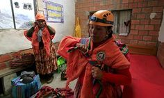 The women prepare for the climb at Huayna Potosí mountain refuge in Bolivia