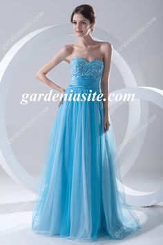 A Line Sweetheart Sequins Beading Sash/Ribbon Floor Length Tulle Evening Dress 2014