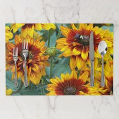 Golden Rudbeckias Floral Disposable Placemat - photography gifts diy custom unique special