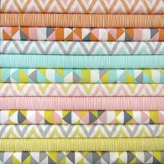 organic 5-piece bedding in chevron, stripes, and triangles. Ivie Baby etsy