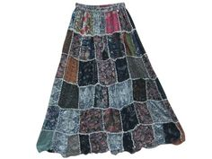 Amazon.com: Patchwork Skirt Bohemian Maxi Skirts Floral Printed Long Skirt: Clothing