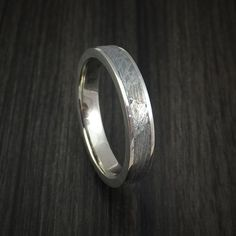 14k White Gold and Gibeon Meteorite Ring Custom Made Band