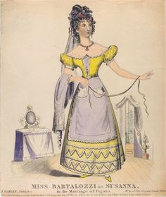Susanna in Nozze di Figaro, because if you have 2 little pockets on the outside of your skirt, of course you must be the maidservant. Probably 1830s.