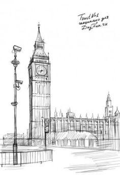 Как нарисовать Биг Бен карандашом