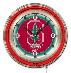 """Stanford Cardinal HBS Neon Red College Battery Powered Wall Clock (19"""")"""