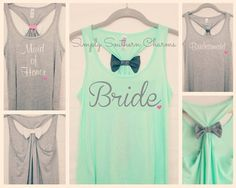 8 Personalized Wedding Party Flowy Racerback Tank Tops, Bridesmaid Shirts, Bachelorette Party Tank Tops, Maid of Honor Shirt, Bride Tank Top on Etsy, $224.00