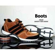 Sepatu Pria Semi Boots Felis Tan Ujung Besi Safety