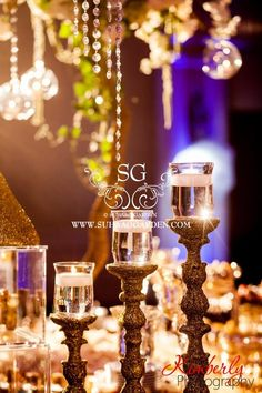 Suhaag Garden, Indian Wedding Decorator, Florida Wedding Decorator, Gold Glitter Candlesticks, Floating Candles