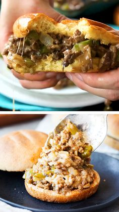 Philly Cheesesteak Sloppy Joes A recipe that combines the deliciousness of a classic Philly cheesesteak recipe in a hamburger! Perfect for family snacks and lunches, this Philly cheesesteak sloppy joes recipe is filled with ground beef and cheesy flavors! Easy Dinner Recipes, Easy Meals, Cheesesteak Recipe, Chicken Philly Cheesesteak, Chicken Recipes, Soup Recipes, Beef Recipes Lunch, Recipes With Ground Beef Videos, Meals To Make With Ground Beef