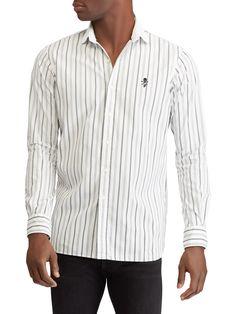 760816fba05 Ralph Lauren Sueded Cotton Poplin Button-Down Shirt - Black White Xx-Large