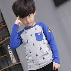 Find More T-Shirts Information about Baby Boys Long Sleeve 0 neck Anchors Pattern Printed Korean Style Kids Children Clothing Cotton T shirts Spring Autumn Winter,High Quality clothing retro,China clothing Suppliers, Cheap clothing blazer from IMO(In My Opinion) on Aliexpress.com