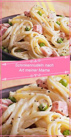 Ingredients: 500 g tagliatelle 1 onion (s), diced 250 g ham, cooked . - Ingredients: 500 g tagliatelle 1 onion (s), diced 250 g ham, boiled 2 egg yolks 200 g cream 1 table - Star Pasta Recipe, Ribbon Pasta, One Pot Pasta, Spaghetti Recipes, How To Cook Pasta, Kids Meals, Ham, Good Food, Food And Drink