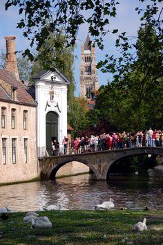 Bridge to Beguinage, Bruges, Belgium