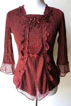 PRETTY ANGEL Vintage Victorian Boho Chic Burgundy Red Top/light sweater--UNIQUE! #PrettyAngel #Blouse