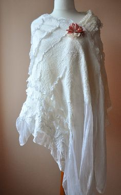 Nunofelt+Silk++Wrap+Wool+Scarf+Shawl++OOAK++White+by+ShellenD,+$105.00