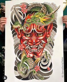 Japanese Warrior Tattoo, Japanese Dragon Tattoos, Japanese Tattoo Art, Samurai Tattoo Sleeve, Samurai Warrior Tattoo, Sleeve Tattoos, Hannya Mask Tattoo, Hanya Tattoo, Owl Skull Tattoos