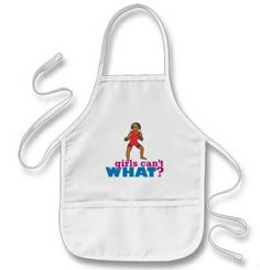 Painting, drawing, crafts – all great activities, but hard on clothes. This kid length apron will keep your child clean. It's got two center pockets for holding all their stuff too. Use the ColorizeME Tool to create a personalized gift she'll truly love! http://www.girlscantwhat.com/personalized-gifts/girl-wrestler/ #girlscantwhat #girlpower #GirlWrestler