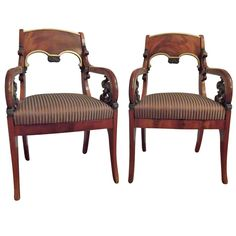 Magnificent Pair of Russian Empire Yew Wood Armchairs | From a unique collection of antique and modern armchairs at http://www.1stdibs.com/furniture/seating/armchairs/